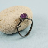 Sterling Silver Rough Amethyst Ring