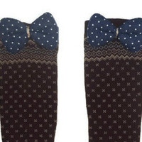 One Size Navy Polka Dot Bow Brown Tribal Print Knee High Womens Socks