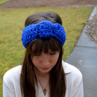 Royal Blue Crochet Knotted Headband