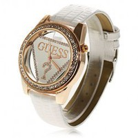 Generous Guess Golden Case PU Leather Band Watch with Triangle Chasis - White Hot Sale At Wholesale Price - Gadgetsdealer.com