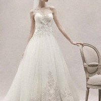 One Shoulder Tulle Ball Gown with Lace Appliques - David&#x27;s Bridal