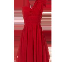 red bow shoulder dress
