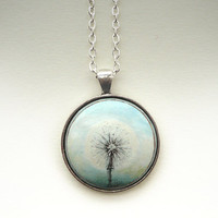 Romantic Hand Painted Necklace Dandelion Art - Charm Cable Chain  - Wooden Pendant