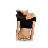 Allegra K Women Clubwear Off Shoulder Short Sleeve Hiphop Shirt Black XS