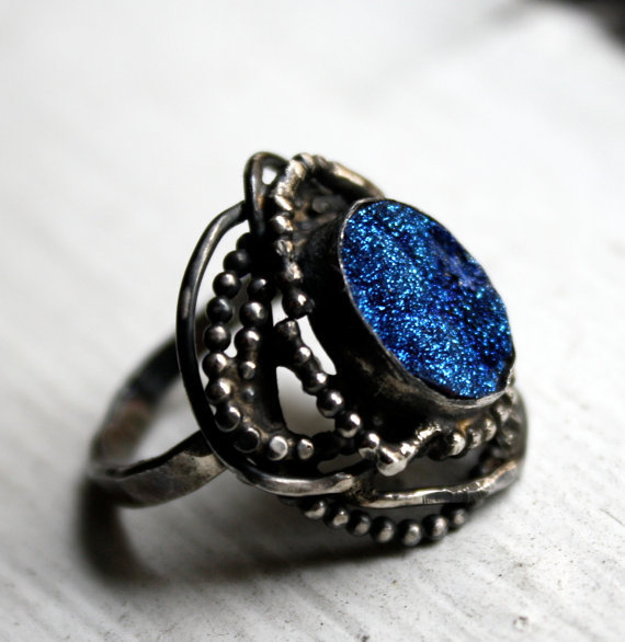 Blue Drusy Nest Ring by RachelPfefferDesigns on Etsy