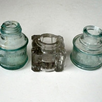 2 antique ink bottles, 1 ink well