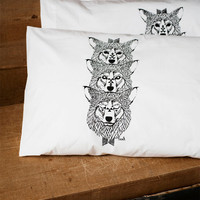 Wolf Totem - Hand Printed Pillow Case Pair - 200tc - by Bark Decor