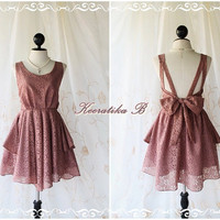 A Party - Cocktail Prom Party Dinner Wedding Bridesmaid Night Dress Dark Rosy Brown Color Backless Dress