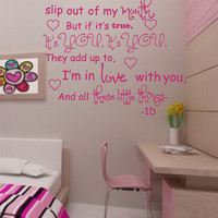 SALE One Direction These little things vinyl wall decal Song lyrics