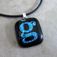 Dichroic Initial G, Letter G Necklace, Personalized Pendant Necklace, Fashion Jewelry - Geegee - 4073 -2-2