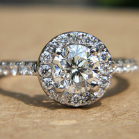 Halo  85 carat Round  Pave  Antique Style  by BeautifulPetra