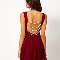 Rare Chiffon Skater Dress With Pearl Back at asos.com
