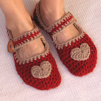 Crochet Slippers Red with Light Brown Heart and by EvasStudio