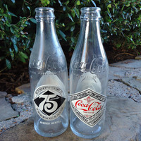 Vintage Coca Cola Coke bottles 1977 Commemorative 75th Anniversary bottles Set of 2