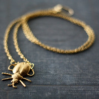 Beetle Necklace Brass Egyptian Insect by contrary on Etsy