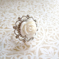 Vintage Style White Rose Ring by StrictlyCute on Etsy