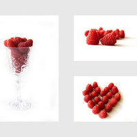Raspberries, Kitchen art, Food photography, Red, White, set of 3, 12x8 and 5x7 - titled: Raspberries II