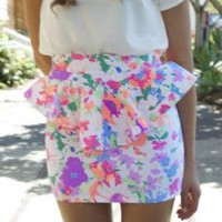 Neon Floral Skirt with Peplum Detail