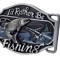 Buckle Rage I'd Rather be Fishing Metal Belt Buckle Redneck Western Sport Bass Silver One Size