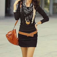 Fashion / dress + belt + scarf + bag