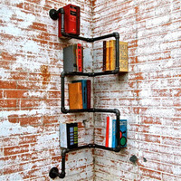 Bookshelf Industrial Pipe Corner Shelf by stellableudesigns