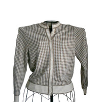 Vintage Cardigan Sweater - 1970s Vivanti Brand Houndstooth Print Sweater Light Bronze and Ecru