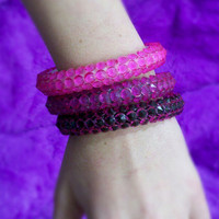 Set of 3 Pink Spike Bangles