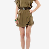 Parker Flowy Wrap Dress in Khaki :: tobi