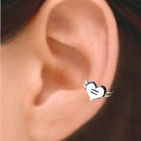 925 Love is Equal Heart - Sterling silver ear cuff earring jewelry, non pierced earcuff,  011113