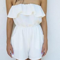 White Romper with Ruffle Top and Pockets