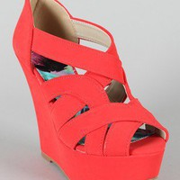 Qupid Finder-145X Strappy Peep Toe Platform Wedge