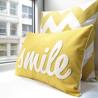 Smile Pillow in Yellow by HoneyPieDesign on Etsy