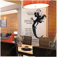 Made in US - Free Custom Color - Mermaid- 37 inch tall - removable vinyl art wall decals for home d