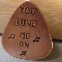 Guitar Pick Copper You Tune Me On by NiciLaskin on Etsy