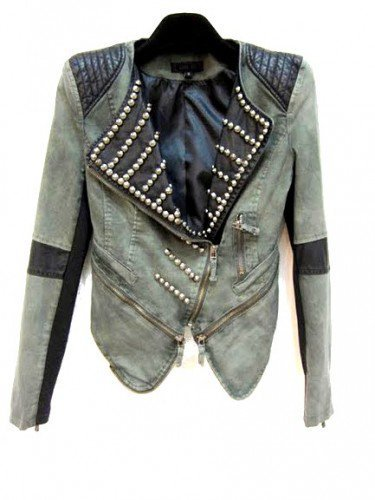 Leather Denim Biker Style Embelished Jacket by MischaLove on Sense of Fashion