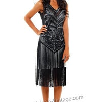 1920's THE SABLE Black Beaded V Dropped Waist and Fringe Skirt Flapper Dress - S to XL - Unique Vintage - Cocktail, Evening & Pinup Dresses
