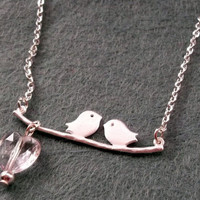 Bird Necklace SIlver Bird Branch Heart by KitschBitchJewellery