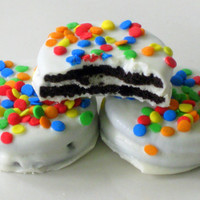 Confetti Oreos - 1 Dozen (12) Edible Party Favors Candy Cookies Rainbow Colors White Milk Chocolate Rainbow Yellow Blue Orange Red Green