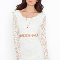 Lattice Lace Dress - Ivory