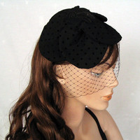 Black Flower Coctail Hat Handmade Unique Item Black by mammamiaeme