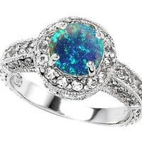 Original Star K(tm) 7mm Round Created Blue Opal Engagement Ring LIFETIME WARRANTY