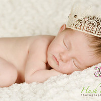 Newborn elegant cream lace Princess Crown by HushaByeCreations