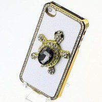 Genuine Luxury White Litchi Rind Leather Around Rhinestone Crystal Diamond Turtle Case Cover for Iphone 4 4S Match Flower Hanger