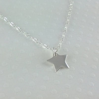 Tiny Sterling Silver Star Necklace- Little Silver Star- Sterling Silver Chain