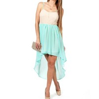 Mint Hi-low Crochet Dress