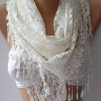 Super elegant scarf  Lace scarf...Pearl color