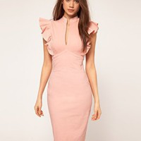 Hybrid | Hybrid Dress with Deep V Neck and Frill Sleeves at ASOS