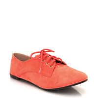 suede-oxford-flats CORAL MAGENTA MUSTARD ORANGE SEAGREEN YELLOW - GoJane.com