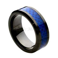 "Ceramic Ring  ""FREE ENGRAVING""  Wedding Blue carbon fiber Band MMCR244 8mm Black  Ceramic engagement ring"