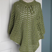 Woman - Shawl/Poncho - Chunky Mid Green